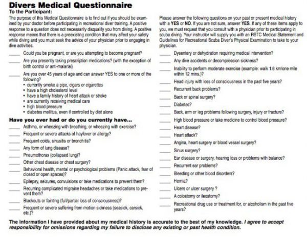 Scuba Diver Medical Questionnaire