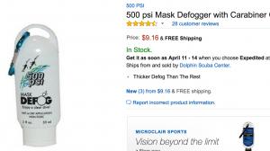 500 PSI Mask Defogger With Carabiner