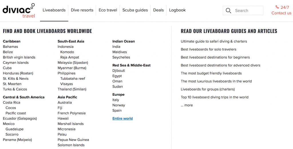 Diviac Liveaboards Destinations