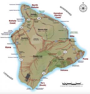 Map of Kona Hawaii