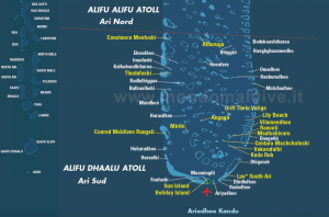 Map Of Maldives South Ari Atoll