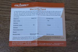 OrcaTorch D520 Warranty Card