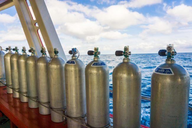 Scuba Tanks On Dive Boat