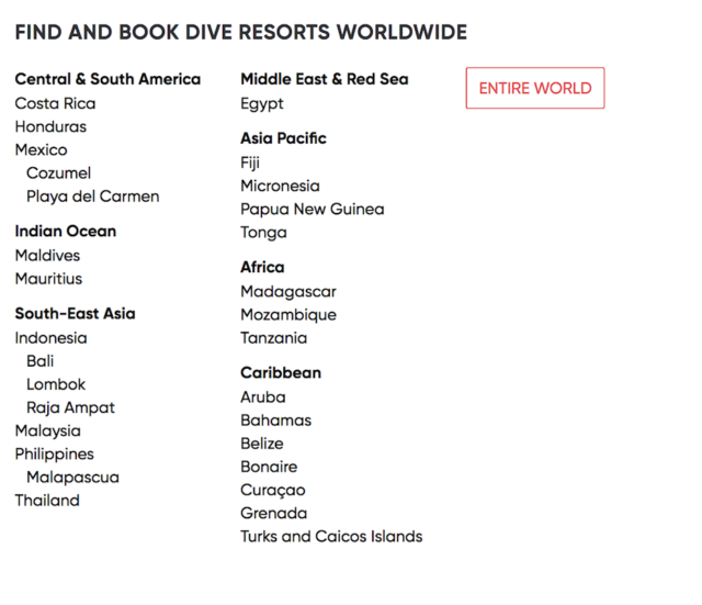 PADI Travel Book Dive Resorts Worldwide