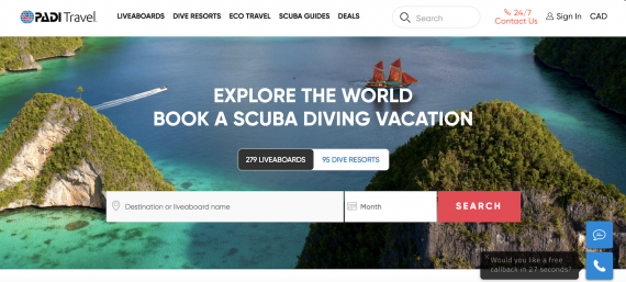 PADI Travel Website