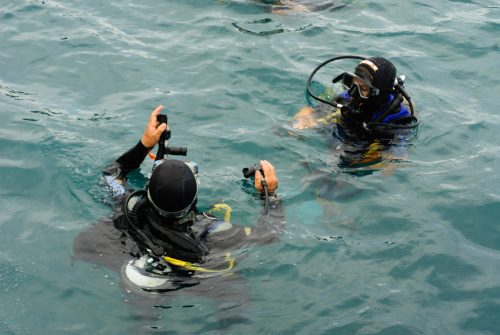 Buddy Divers Preparing To Descend