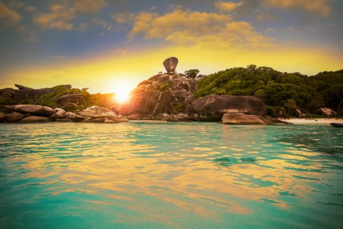 Beautiful Sunset of Island in Similan National Park Thailand