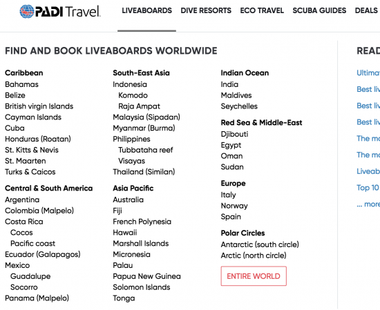 PADI Travel Book a Liveaboard Worldwide